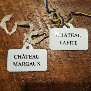 Two Antique French Enamel Wine labels